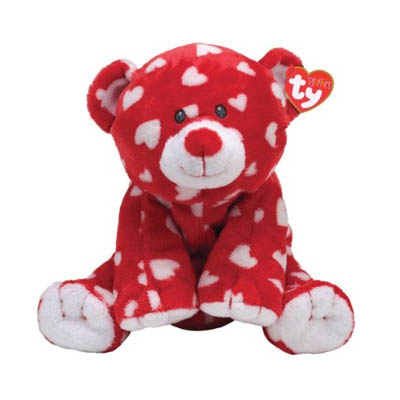 TY Pluffie Dreamly Red Bear with White Hearts Stuffed Animal (bonmua USA-TY1Z)