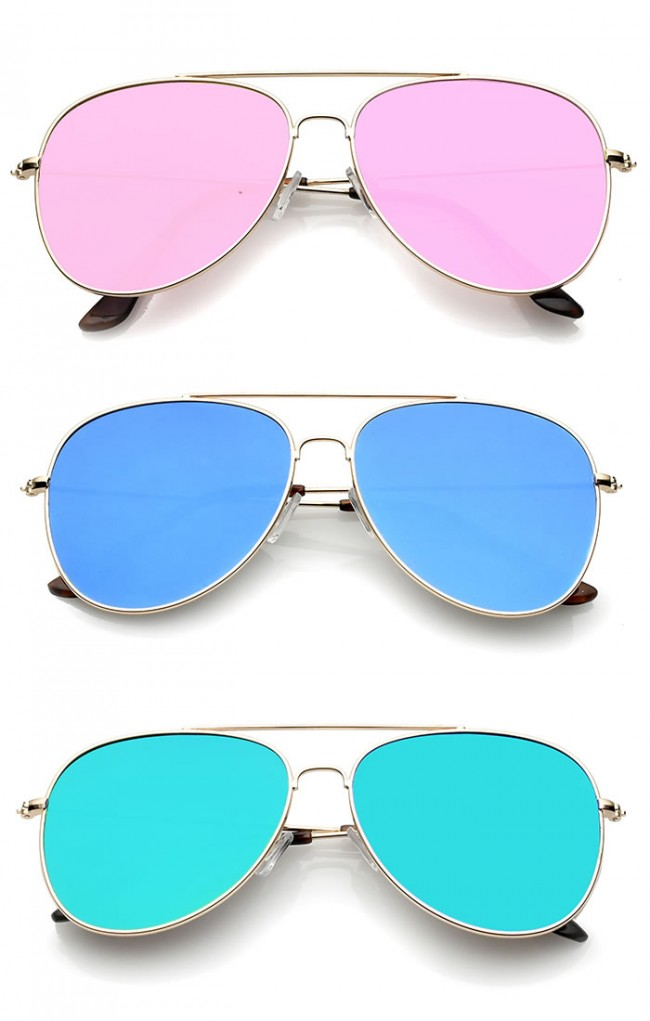 Classic Metal Slim Temple Super Flat Colored Mirror Lens Aviator Sunglasses 58mm (4mua USG-ZERO26)