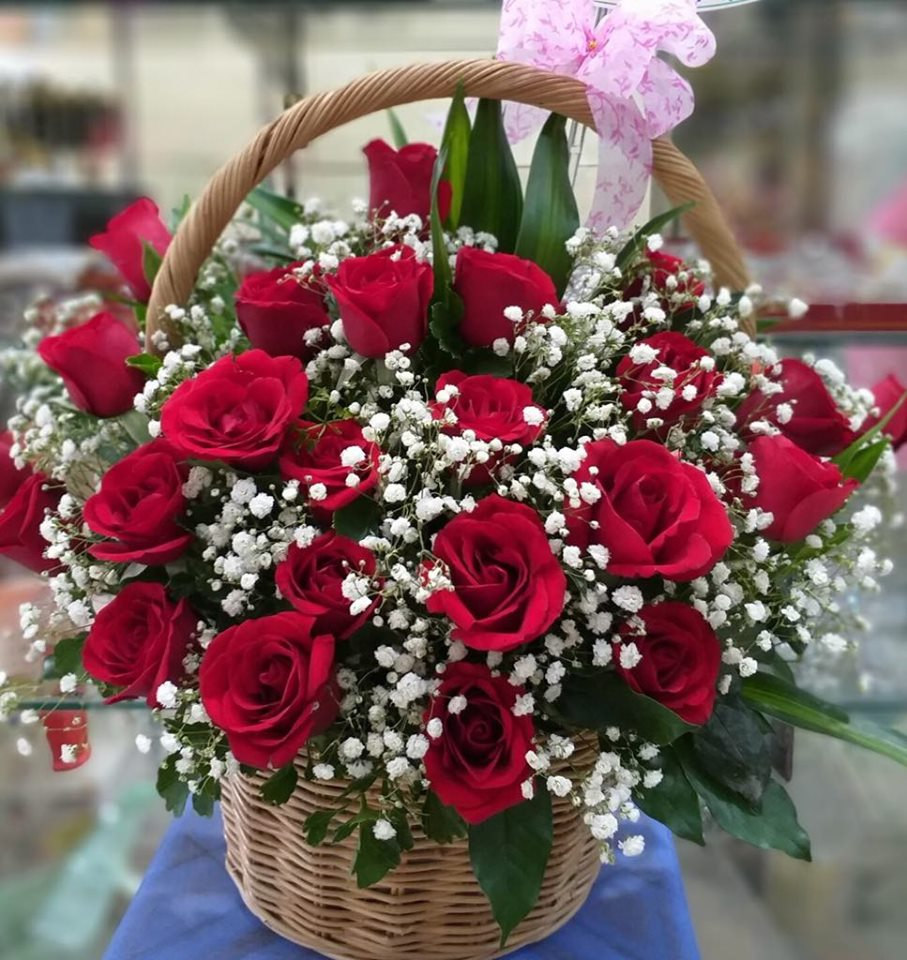Three Dozens Red Roses in basket (4mua BMS-007D)