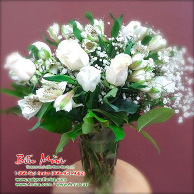 One dozen white Rose (4mua BMS-004WHI)