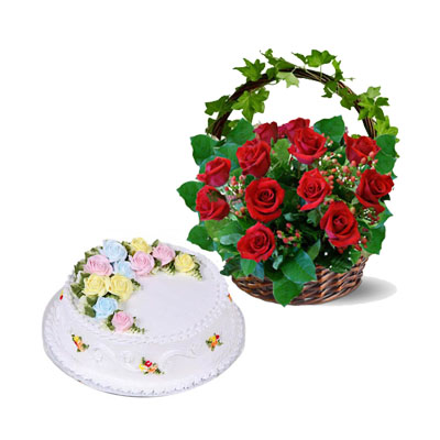 Flower and gift : One dozens red roses with cake (bonmua® BMS-005BA)