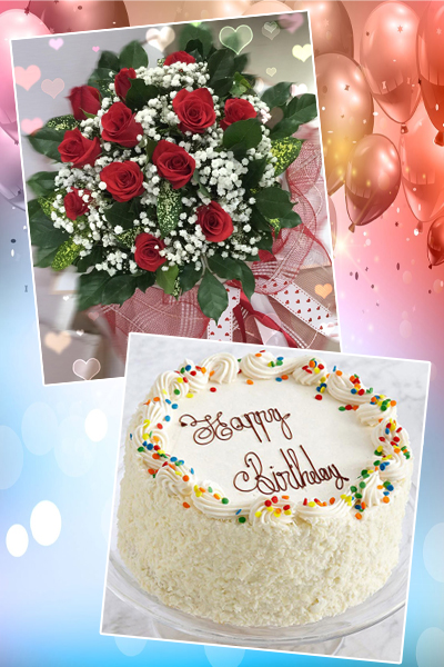 Flowers & Gifts: 12 red roses with Cake 20cm (4mua BMS-005BOU)