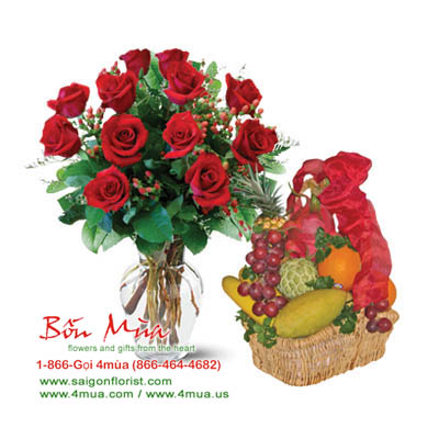 Flowers and Gifts: One dozen red Roses and Fruit Basket (4mua® BMS-006)