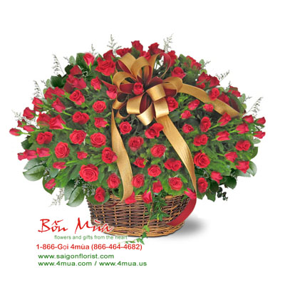 50 red roses in basket by bonmua's (4mua BMS-007A)