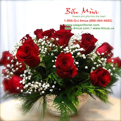 Two Dozens Red Roses in basket (4mua® BMS-007C1)