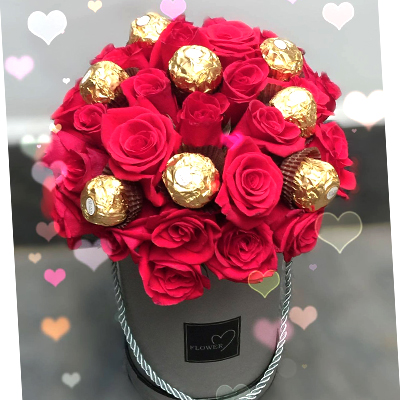 24 Red Roses with Ferrero Rocher Chocolate in box / SaiGon only (4mua BMS-007C3CHO)