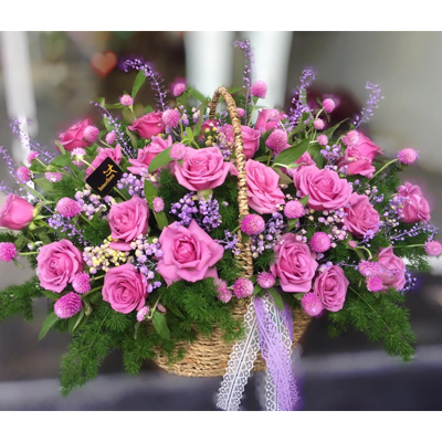 2 Dozens Purple Roses in basket (4mua BMS-007CPUR)