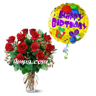 Flowers and Gifts: One dozens red roses with Mylar balloon (4mua® BMS-009)