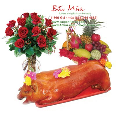 Flowers and Gifts: A Roasted Pork (+/-20lbs), A Fruit in Basket, One dozen roses (4mua® BMS-016B)