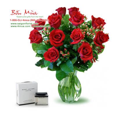 Flowers and Gifts: 12 red roses and Mini Perfume 4ml (4mua BMS-023B)