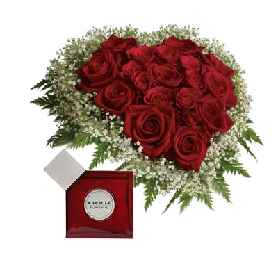 Flowers and Gifts: 24 Red Roses in heart box and mini perfume(4mua BMS-FNG02A)