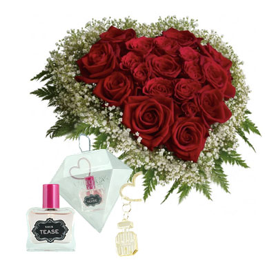 Flowers and Gifts: 24 Red Roses in heart box and mini perfume (4mua BMS-FNG02C)