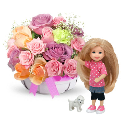 Flowers and gifts: Roses basket and TY Li'l Ones Awesome Ashley (10cm) (bonmua BMS-FNG14AWA)