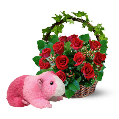 Flowers and Gifts: 12 red Roses in basket and TY Pink Lovely Mouse (height 15cm) (bonmua BMS-FNG15PI)
