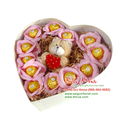 Paper flowers with Chocolate + Teddy bear in heart box (4mua BMS-FNG35)