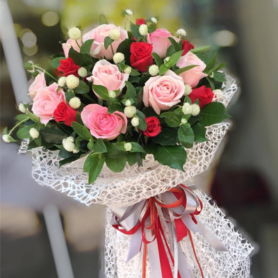 18 RED & PINK ROSES BOUQUET (4mua BOU-RO18MIX1)