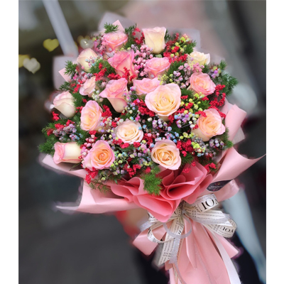 18 Pink Roses bouquet (4mua BOU-RO18P)