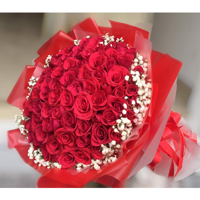99 Red Roses and Baby's breath bouquet (4mua BOU-RO99R1)