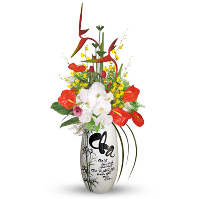 Mix cut flowers on Callgraphy vase (bonmua HHF-147)
