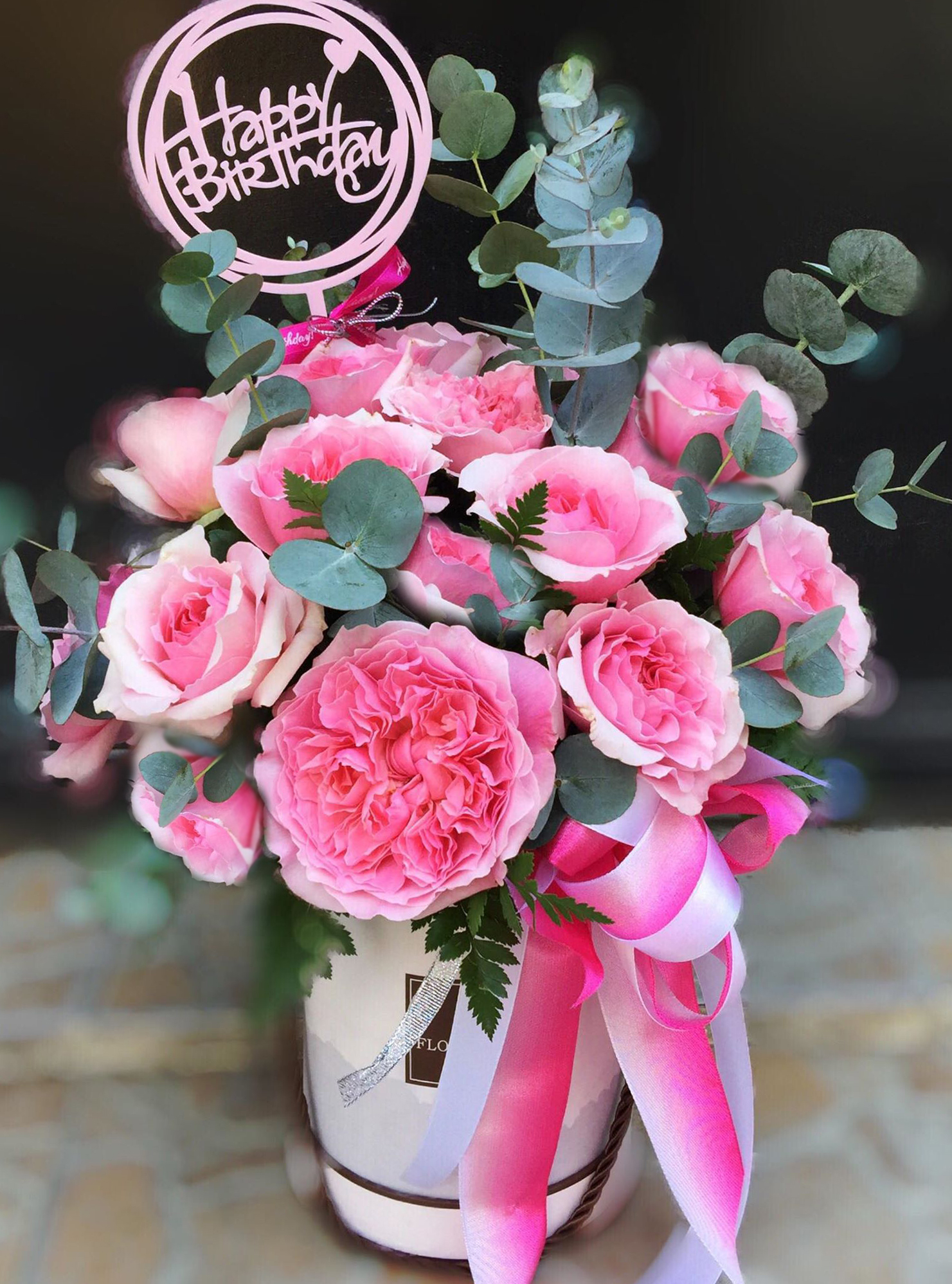 20 PINK ROSES IN BOX / special (4MUA HHF-20PRBOX/SP)