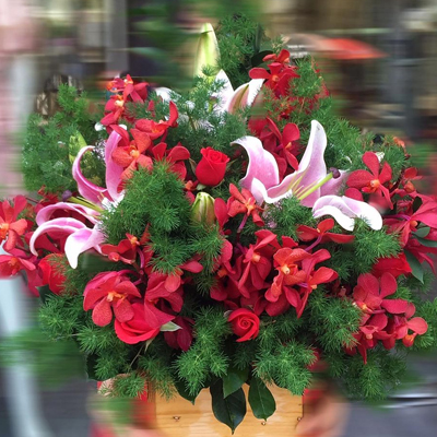 Red Pink and Green Arrangement (4mua HHF-BA2081)