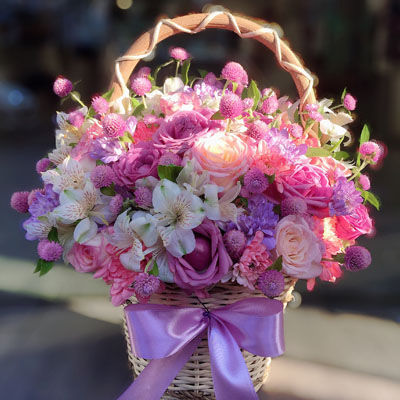Pink & Purple Romance in basket (4mua HHF-BAS0307)