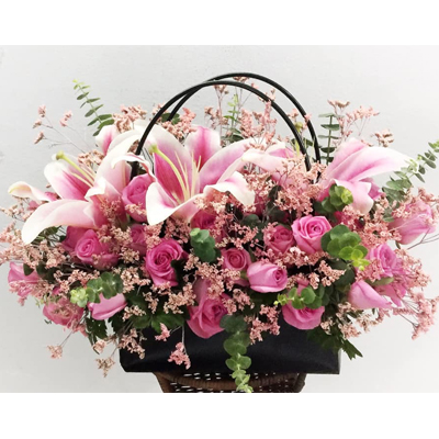 Pink tonings Flowers in Basket (4mua HHF-BAS1021)