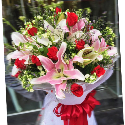 Roses and Lilies Bouquet (4mua HHF-BOU208)