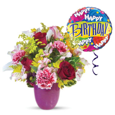Flowers and Gifts: Mixed cut flowers in vase and Mylar Balloon (bonmua BMS-FNG01)
