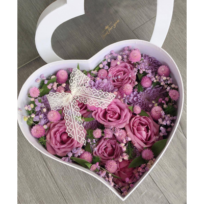 Lovely Purple Roses in heart box (4mua HHF-HEART3210)