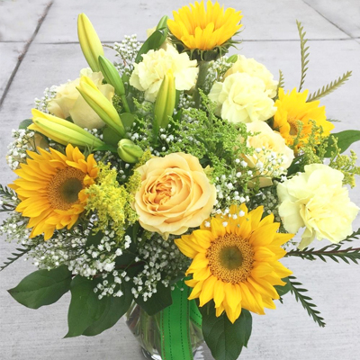 Sunflowers and greenery in vase (4mua HHF-MIX1124)