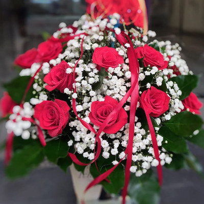 One Dozen Red Roses in Basket (4mua HHF-R01BA)