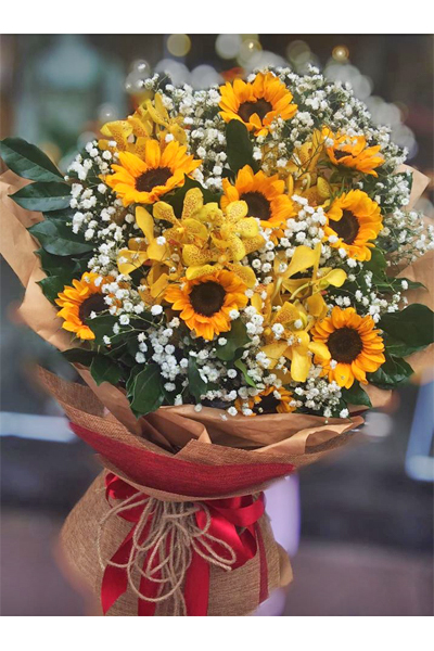 Sunflowers and Orchid Bouquet (4mua HHF-SUN01BOU)