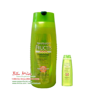 Garnier Fructis Shampoo Sleek & Shine For Frizzy, Dry, Unmanageable Hair 750ml + Free gifts 59ml (4mua HSC-SHGA1B)