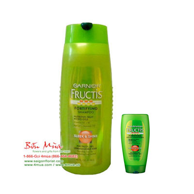 Garnier Fructis Shampoo & Cream Conditioner Sleek & Shine For Frizzy, Dry, Unmanageable Hair 1.18litterr (4mua HSC-SHGA1C)
