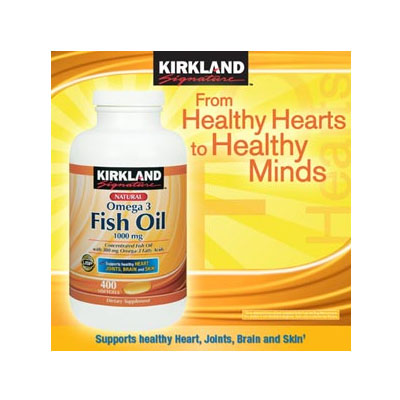 Kirkland Signature™ Omega-3 Fish Oil Concentrate 1000mg/400 Softgels (bonmua HVI-KL1A)