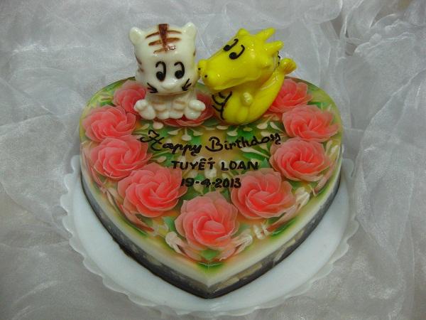 Cartoon Jelly Cake Recipe: 3D JELLY CAKE ANIMAL & CARTOON (heart) 25cm / SaiGon Only