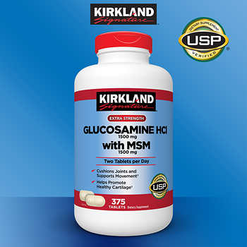 Kirkland Signature Extra Strength Glucosamine HCI 1500mg with MSM 375 Tablets (4mua HVI-KL2)