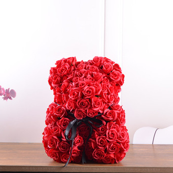 Soap Teddy Bear red rose 20cm (4mua VOT-001BROSE20RED)