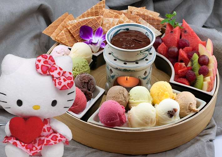 Combo Ice Cream Buffet + TY Hello Kitty heart / SaiGon only (4mua VBA-ICE01)