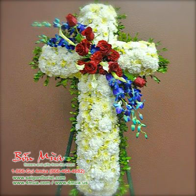 Floral Cross Easel (4mua® VFU-CR015)