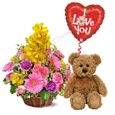"Flowers and Gifts: Spring colorful basket with Bear & balloon mylar ""I Love You"" (bonmua VLO-001)"