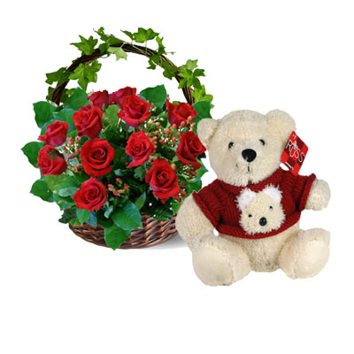 Flowers and Gift: A dozen Red Rose and Bear (bonmua VLO-002A1BA)