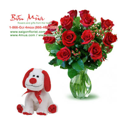 Flowers and Gifts: 12 Roses and TY Heartbeat the Dog (4mua VLO-003B)