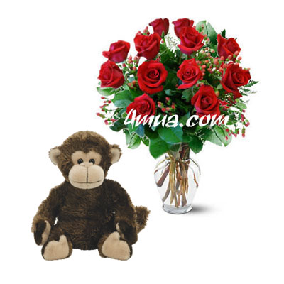 Flowers and Gifts: 12 red Roses in vase and TY Cute Monkey (height 15cm) (bonmua VLO-003VI)