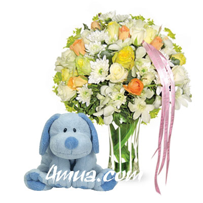 Flowers and Gift New Baby For Boy (bonmua VLO-BB02)