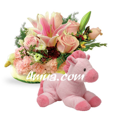 Flowers and gift New Baby For Girl (bonmua VLO-BB03)