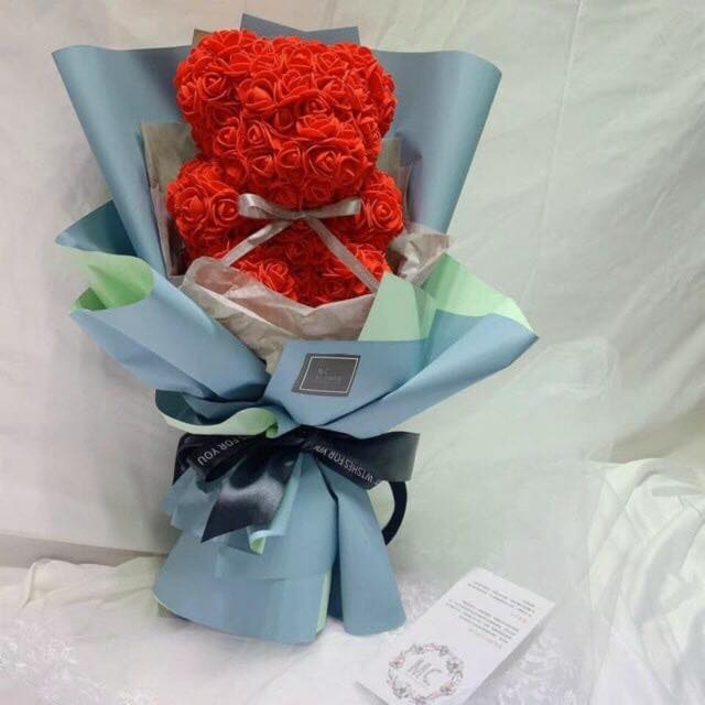 SOAP TEDDY BEAR RED ROSE BOUQUET (4MUA VOT-SOBEAR20REDBO)