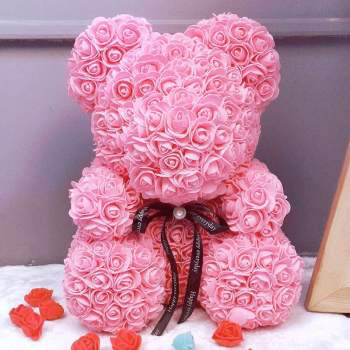 SOAP TEDDY BEAR PINK ROSE 20CM (4MUA VOT-001BROSE20PINK)