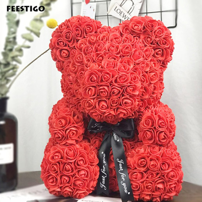 SOAP TEDDY BEAR RED ROSE 40CM (4MUA VOT-001BROSE40RED)